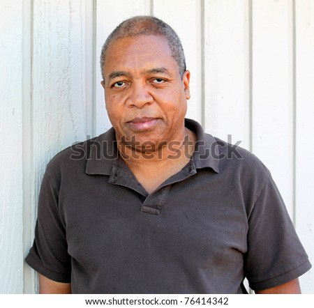 African american man relaxing outdoors.