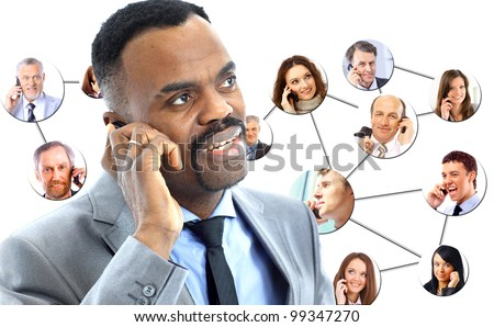 african american man speaking on the phone