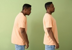 African-American man with bad and proper posture on color background