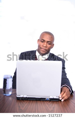 African American man with Computer