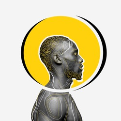 African-american man with head rounded yellow on white background. Copyspace for your proposal. Modern design. Contemporary artwork, collage. Concept of phycology, thinking, brainstorming, fashion.
