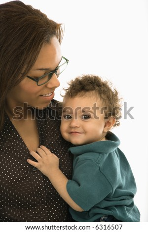stock photo african american mid adult mom holding toddler son who is looking at viewer 6316507 Monumentally Natural (nude)