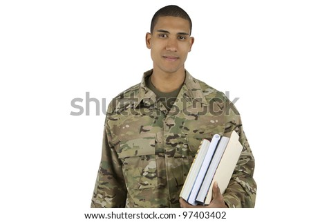 African American Military Man with School Books