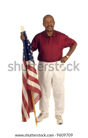 African American patriot with flag isolated over white