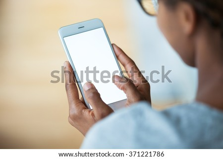 African american person holding a tactile mobile smartphone - Black people