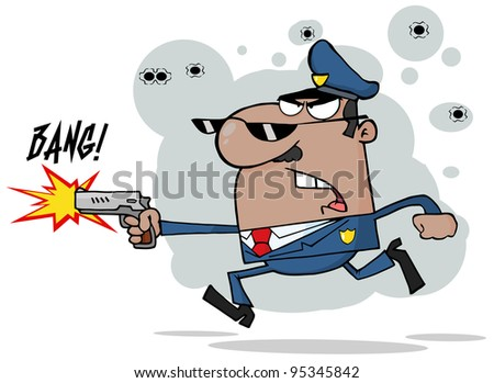 African American Police Man Running With A Gun