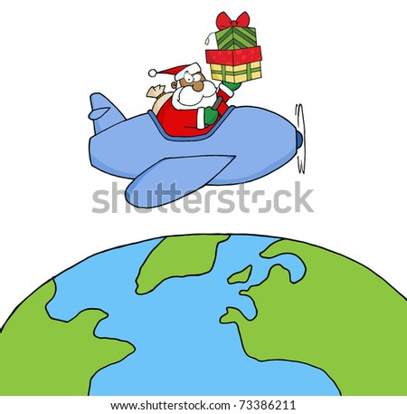 African American Santa Claus Holding Up A Stack Flying Around Earth