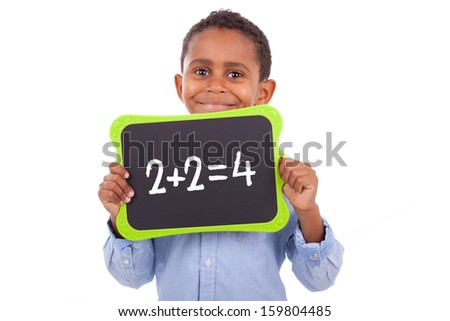 African American school boy holding a blank  black board, isolated on white background - Black people