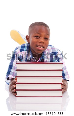 African American school boy with stack a book, isolated on white background - Black people - stock photo