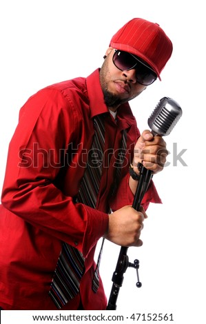 African American singer with vintage microphone