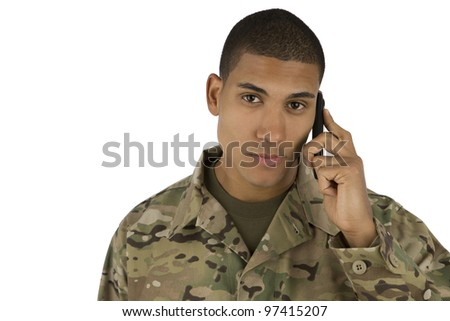 African American Soldier talking on the Phone