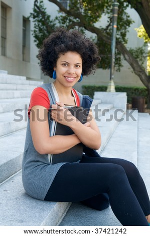 African American Student girl on campus