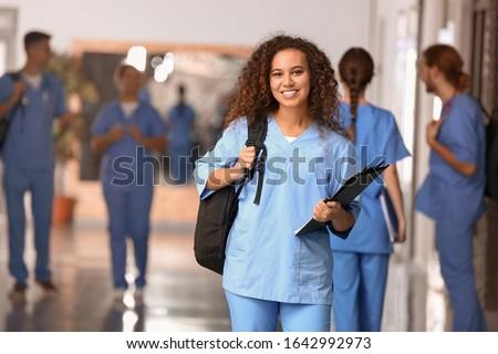African-American student in corridor of medical university