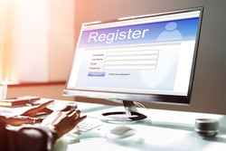 African American Typing To Register Internet Username On Computer