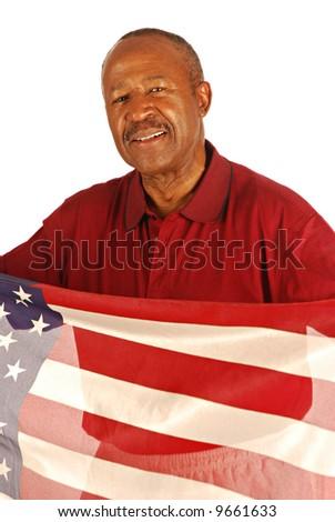 African American war veteran holding an American flag