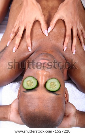African American Woman at Spa - stock photo