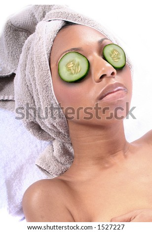 African American Woman at Spa