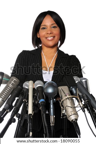 African American Woman behind microphones isolated over a white background