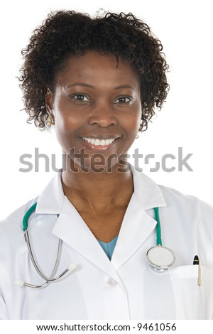 African american woman doctor a over white background - stock photo