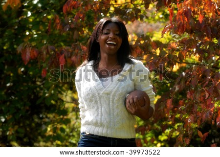 African-American woman enjoys sports outdoors