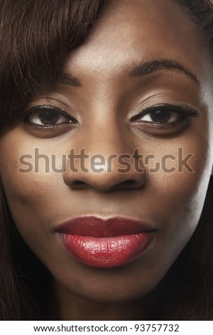 african american woman face close up