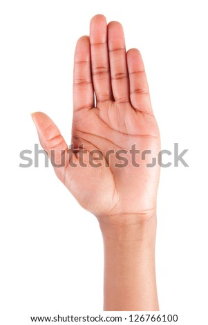 African American woman hand up, isolated on white background
