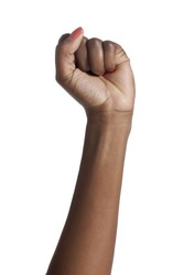 African American woman hands angry fist gesture; isolated on white background