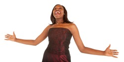 African American Woman Overjoyed About Something.