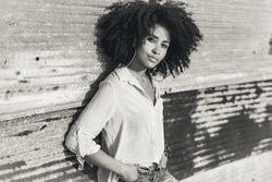 african american woman portrait outdoors