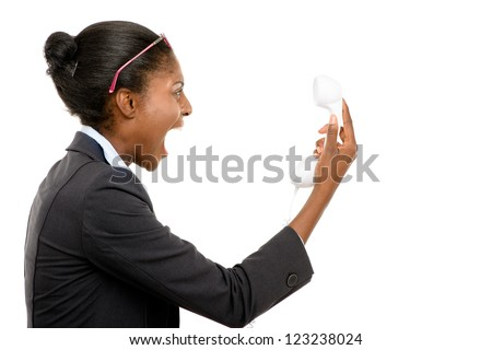 African American woman shouting at phone isolated on white background