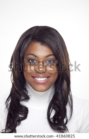 African american woman smiling looking at camera wearing glasses
