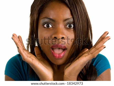 African American Woman Surprised about Something