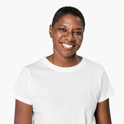 African American woman wearing white t-shirt apparel close-up