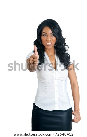 African American Woman with thumbs up gesture