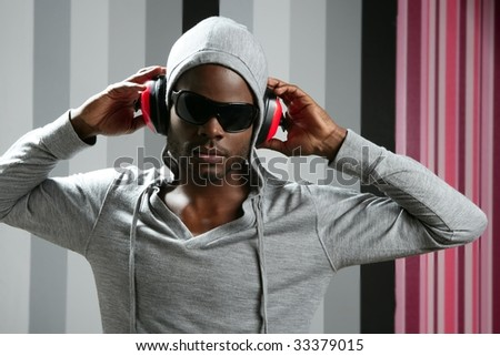 African american young black man rap dj