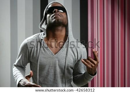 African american young black man rap dj - stock photo