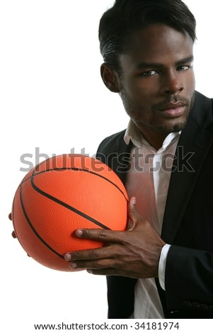 African american young businessman basketball ball in white studio