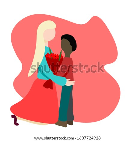 African americanchild gives bouquet of flowers to caucasian woman. hand draw lettering 8 march.  Flat Illustration. Concept International Women's Day, mothers Day, teacher's Day.