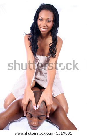 African Amrican Couple - Massage - Relaxing