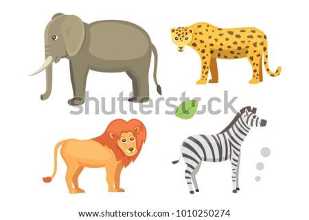 African animals cartoon set. elephant, rhino, giraffe, cheetah, zebra, hyena, lion, hippo, crocodile, gorila and outhers. safari isolated illustratio.