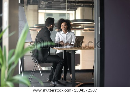 African arabian businesspeople during meeting, mates work together share thoughts ideas do common task, job interview hiring process, client and executive manager provide info about services concept