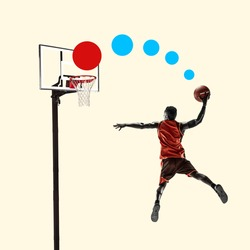African basketball player during slam dunk on yellow background. Negative space to insert your text. Modern design. Contemporary colorful and conceptual bright art collage, art collage. Visual art.