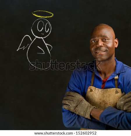 African black man industrial worker with chalk angel on blackboard background