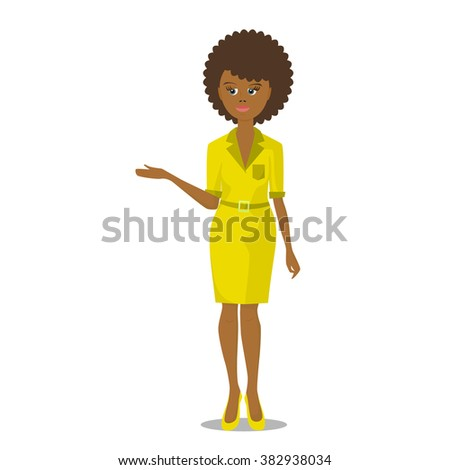 african black woman in yellow dress illustration