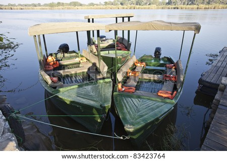 African boat on south luangwa river in Zambia