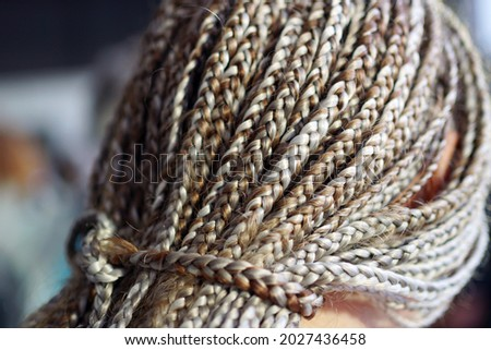 African braids are gathered in the tail with a pattern from the                                Stock foto ©