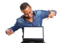 African business man presenting your product in a laptopcomputer