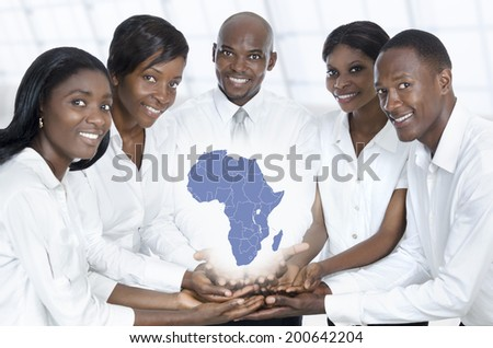 African business team with map of africa, Studio Shot