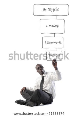 African businessman drawing a business plan