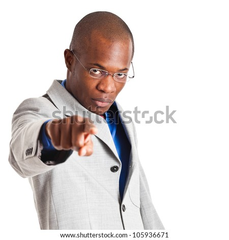 African businessman pointing at you